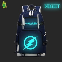 Flash Super Hero Luminous Backpack Canvas School Bags for Teens Men Women Casual Travel Rucksack Large Capacity Laptop Backpack(China)