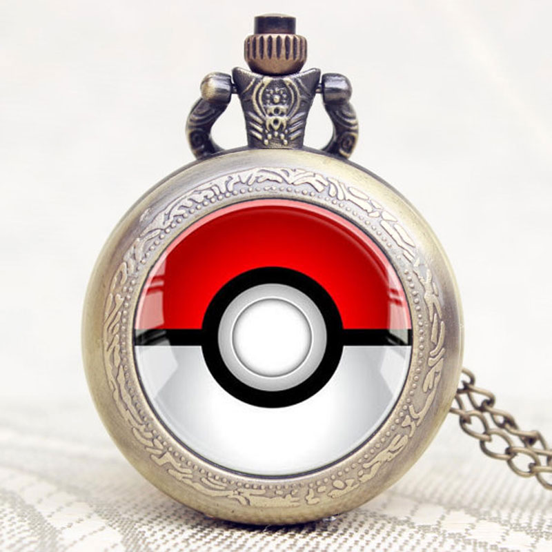 Hot Game Pokemon Extension Poke Ball Theme Glass Dome Design Pocket Watch With Chain Necklace 5 pcs lot cartoon anime wallet wholesale nintendo game pocket monster charizard pikachu wallet poke wallet pokemon go billetera