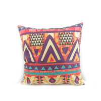 Factory Direct Sell Digital Print Hand Draw Water Color Green Ethnic Pattern Geometric Pattern Pillow Cushion