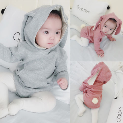 Infant Toddler Baby Girl Boys Hooded Sweatshirts Rabbit Ear Romper Cotton Bodysuit Hoodies 5