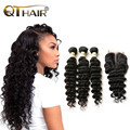 Brazilian Virgin Hair With Closure Loose Deep Wave With Closure Cheap Brazilian More Wave Hair Bundles With 1PC Lace Closures