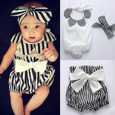 0-24M Newborn Baby Girls Clothes Cute Bebes Infant Toddler Kids Clothing Set Flower Baby Bodysuit Stripped Short Headband 3pcs fashion 2pcs set newborn baby girls jumpsuit toddler girls flower pattern outfit clothes romper bodysuit pants