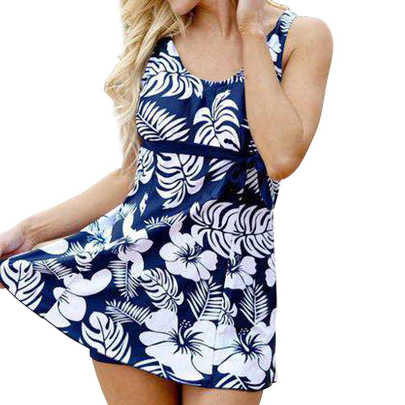 Wade Sea 2018 Women 2 Pieces Swimsuit Tankini Skirt Shorts Female Floral Printed Swimwear Plus Size Halter Top Bathing Suit XXL