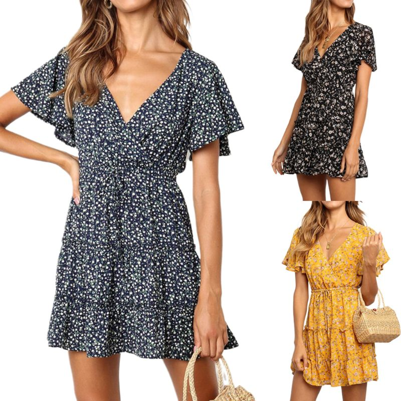 Women <font><b>Short</b></font> Ruffled Sleeve A-Line Swing <font><b>Dress</b></font> <font><b>Boho</b></font> <font><b>Floral</b></font> <font><b>Print</b></font> <font><b>Sexy</b></font> Wrap <font><b>V</b></font>-Neck Drawstring High Waist Tiered Chiffon Sundress image