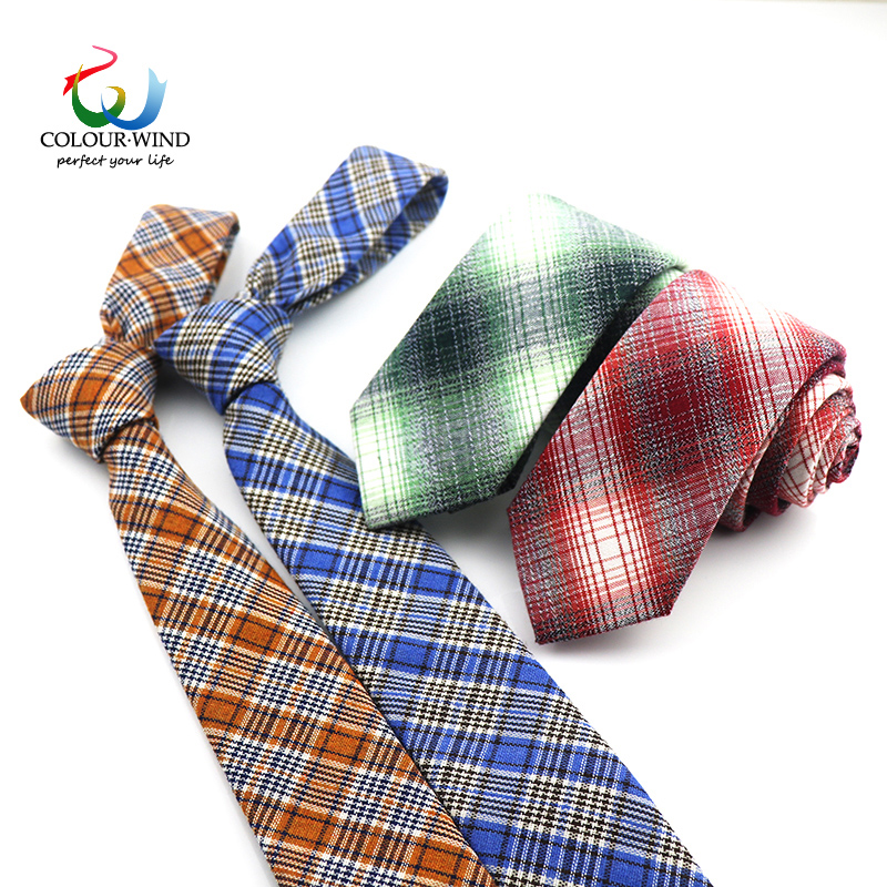 2018 New Arrived Men Cotton Plaid Ties Soft Vintage Casual Slim Red Blue Green Yellow Check Wedding Party Groom Dress Suits plaid