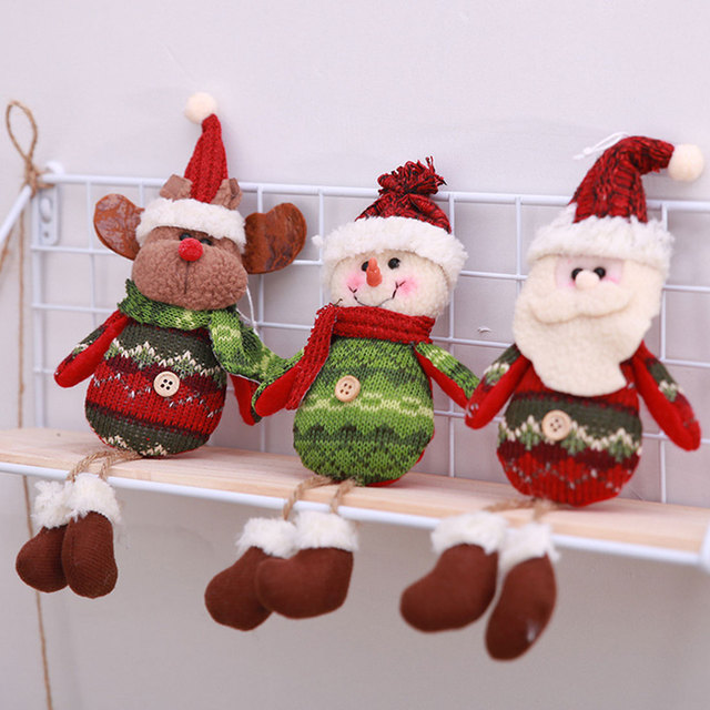 christmas decorations cute doll reindeer santa claus snowman new year hanging christmas tree decoration pendants outside