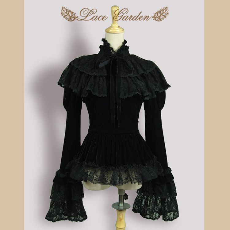 Vintage Black Velvet Women s Jacket Long Flare Sleeve Top with Layered Lace Ruffle Cape by