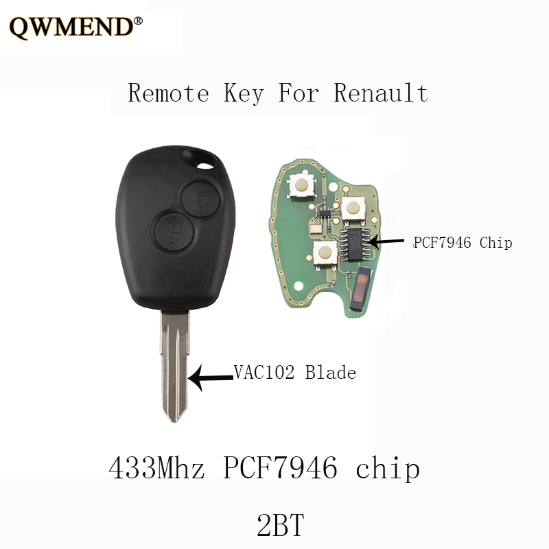 Clave remoto 433MHz PCF7947 2 pero se adapta a id46 Renault Megane Clio Kangoo Completa