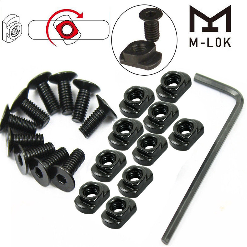 10 Pcs M-LOK Screw and Nut Replacement for MLOK Handguard Rail Sections Hunting10 Pcs M-LOK Screw and Nut Replacement for MLOK Handguard Rail Sections Hunting