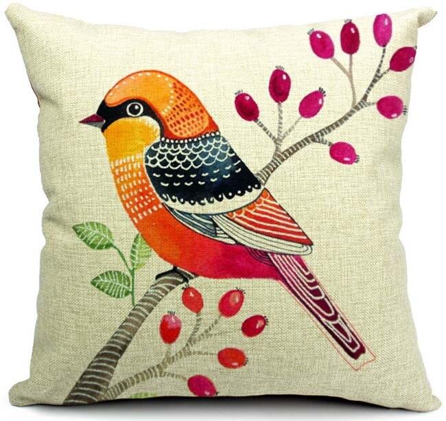 Flower Design For Pillow Cover: Aliexpress com   Buy Birds Flower Cushion Covers High Quality    ,