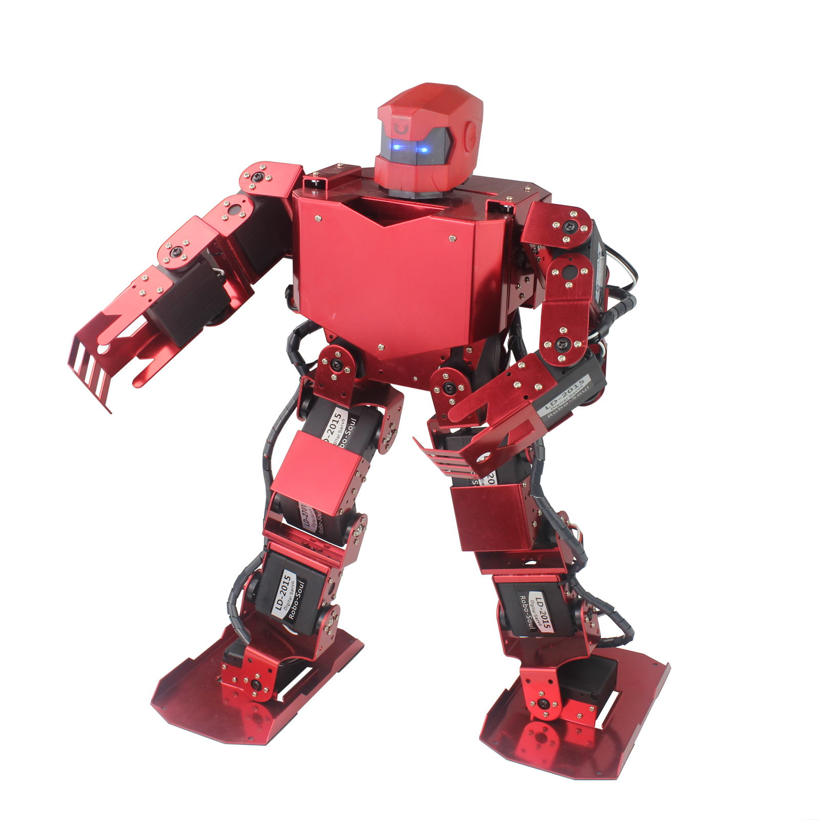 16DOF Robo-Soul H3s Biped Robotics Two Leg Human Robot Aluminum Frame Kit with Servos & Helmet Unassembled olly white or red new 17 degrees of freedom humanoid biped robot teaching and research biped robot platform model no electronic control system