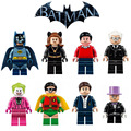 8 Unids/lote Mini Baticueva figuras Robin Batman Bruce Wayne Dick Grayson Alfred Pennyworth Joker mujer Gato Pingüino Lepin Compatible