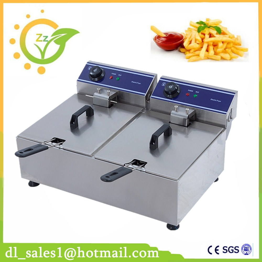 Double Tank Electric deep fryer 20L Commercial 220V Dual Basket Electric Fryer Stainless Steel Chicken Fry salter air fryer home high capacity multifunction no smoke chicken wings fries machine intelligent electric fryer