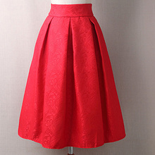 Women Skirts High Waist Pleated Midi 2016 Spring Summer  Vintage Skirt Work Wear Hepburn Skirts Lady  American  Europe Saia