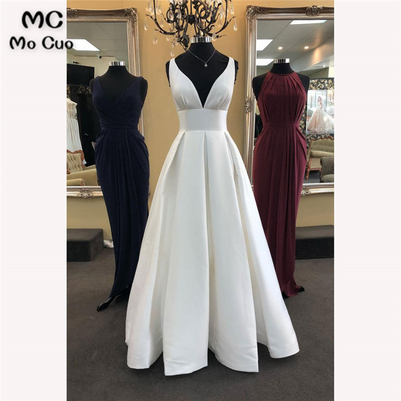 2018 Simple Wedding Dresses Sleeveless Double V-Neck Robe De Mariage Sleeveless Hard Satin A-Line Bridal Gown Wedding Dress
