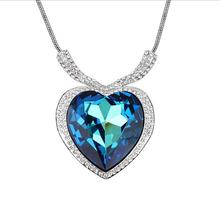Austrian Crystal Women Heart Necklace Gilfriend Love Gifts Big Heart Crystal Pendant Party Cocktail Jewelry Bijoux Accessories