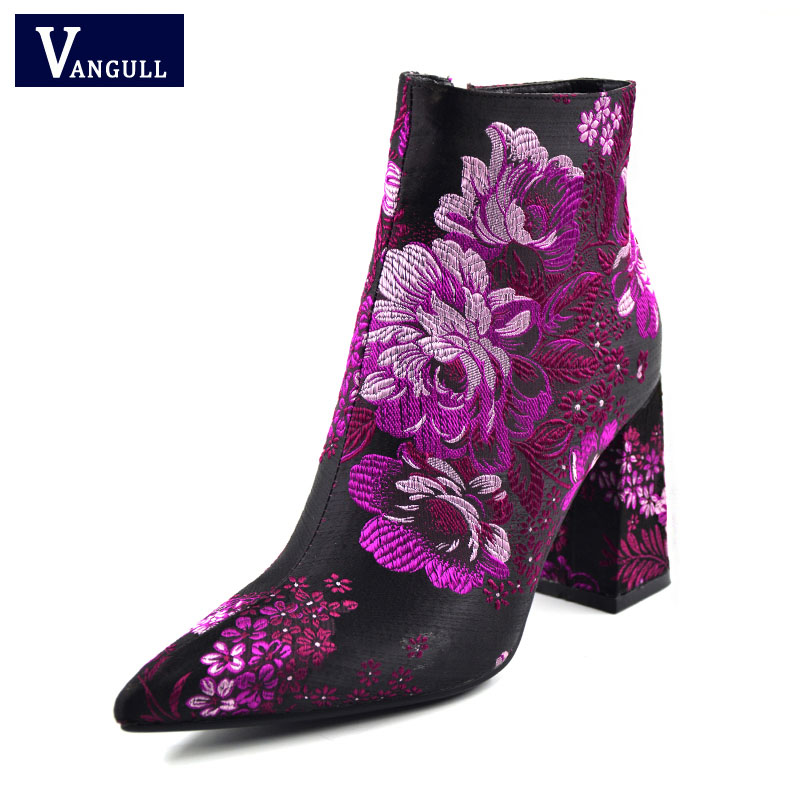 Embroider Boots 2019 New Female Spring Autumn Ankle Boots For Women High Heels Retro Women Shoes Autumn Women High Boots Flower-in Ankle Boots from Shoes