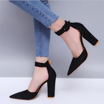 XDA 2019 new style Buckle Strap High Heels single shoes Women Pointed Toe Thick heel fashion women shoes high Heels shoes