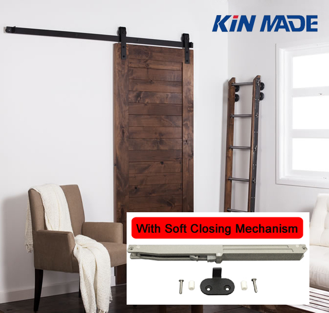 Kin Made Soft Closing Antique Style Steel Sliding Barn Rustic Wood