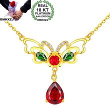 OMHXZJ Wholesale European Fashion Woman Girl Party Wedding Gift Butterfly Red AAA Zircon 18KT Yellow Gold Pendant Necklace NA177