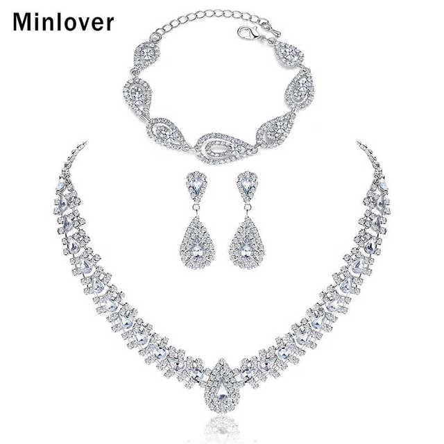 Minlover Argento Colore di Cristallo Gioielli Bridal Jewelry Set Wedding Orecchini Della Collana Del Braccialetto Set TL001 + SL022