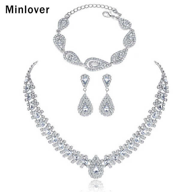 Minlover Silver Color Crystal Bridal Jewelry Sets Wedding Earrings Bracelet Necklace Tl001 Sl022