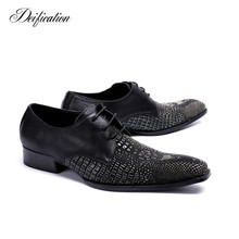 Deification Genuine Leather Wedding Mens Shoes Mixed Colors Square Toe Formal Men Party Flats Plus Size Chaussure Homme