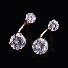 AAA Luxury Zircon Crystal Stud Earrings Rose Gold Plated Jewelry for Women