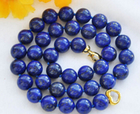 Jewelr 004238 REAL 20 12mm round blue lapis lazuli bead necklace
