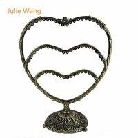 ג 'ולי וואנג 1 יחידות צורת לב חדשה עתיק ברונזה 58 חורים מדף מראה קסם תליון עגיל שרשרת תכשיטי תצוגת Stand מחזיק