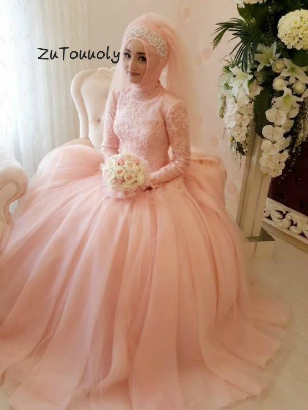 Vintage Islamic Muslim Wedding Dresses With Long Sleeves Blush Peach High Neckline Tulle Appliques Arabic Turkey Wedding Dress