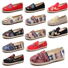 Женские эспадрильи; Вышитая обувь; Удобные тапочки; Женская повседневная обувь; Дышащая льняная конопляная парусиновая обувь; Цвет синий, фламинго
