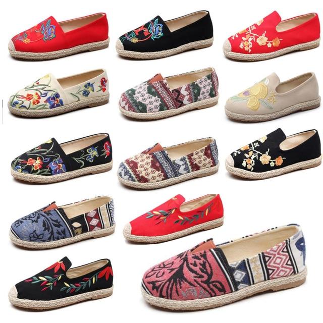 נשים של סנדלי בד לרקום נעליים נוחות נעלי גבירותיי נשים נעליים יומיומיות לנשימה פשתן קנבוס בד כחול פלמינגו