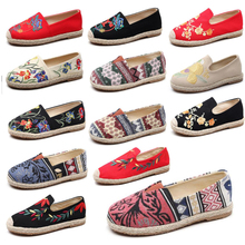 Alpargata bordada para mujer, zapatillas cómodas, zapatos informales transpirables de lino, cáñamo, lona, flamenco azul