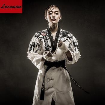 Caliente bordado personalizado taekwondo doboks unisex carácter individual de manga larga WTF tae kwon do uniformes adulto ropa TKD
