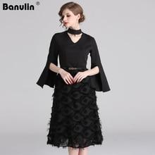 Banulin Women European Fashion Luxury Dress New Spring 2019 Runway Elegant Slipt Flare Sleeve Midi Tassel Black Party