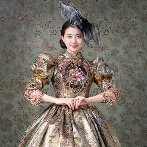 Image 4 - Aangepaste Champagne Marie Antoinette Vrouwen Lange Jurk Middeleeuwse masquerade jurken Baljurken Theater Kostuums
