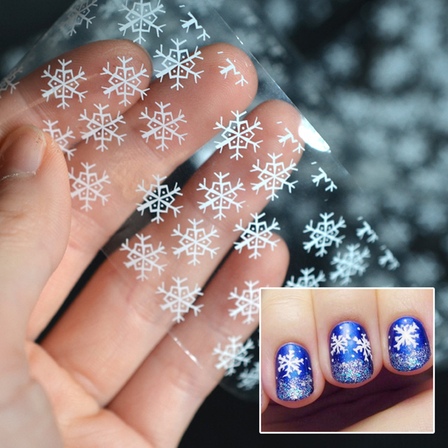 2017 New Arrival Snow Prints Nail Art Sticker 1 Roll Christmas Transpa Small Flakes
