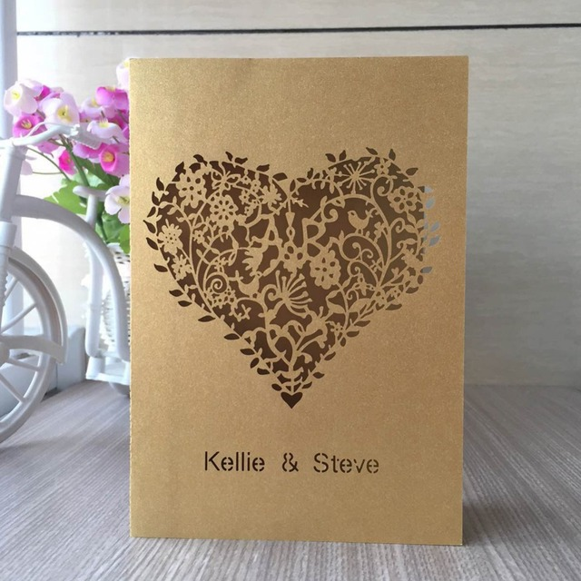 Druckbare Persona 100 Stücke Laser Cut Liebe Herz Design Hochzeits  Einladungen Elegante Hochzeitseinladungen Band Einladungskarten