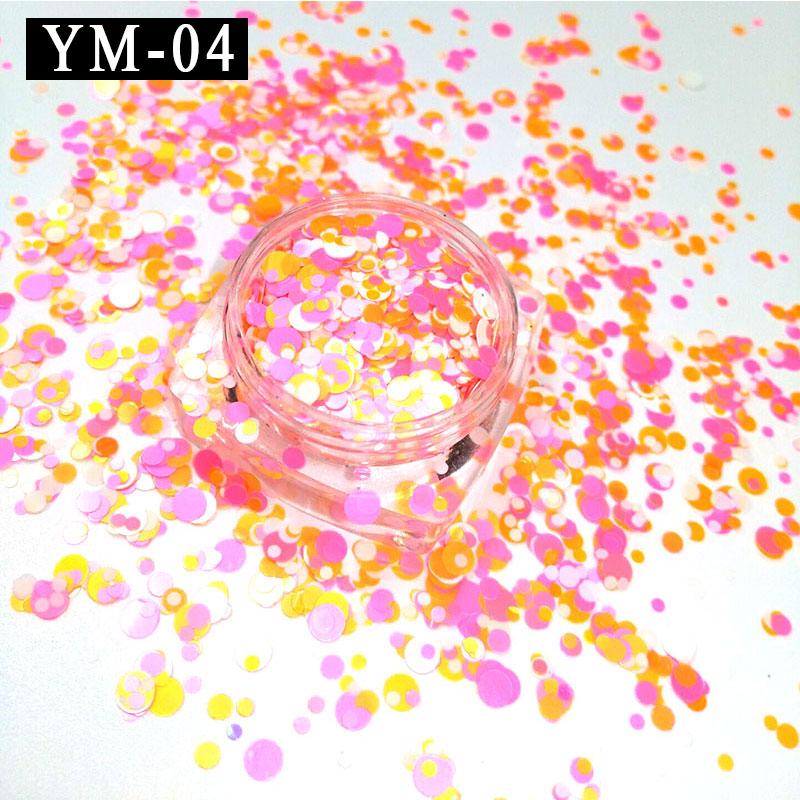 Caixa de Cores Misturadas 1 YM-04-1 mm 2mm 3mm Amarelo Rosa Branco Nail Art Glitter Lantejoulas Conjunto Misto Colorized rodada DIY Decora
