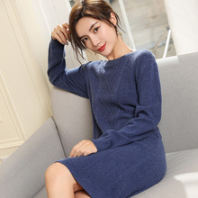 Hot Sale Winter Women Dresses 100% Pure Cashmere Knitting Jumpers New Arrilva 4Colors Long Sweater and Pullover Ladies Clothing