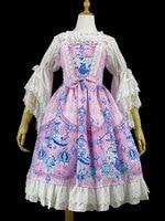 Lolita JSK Dress Print Ruffles Lolita Jumper Skirt Sweet Bow Dress