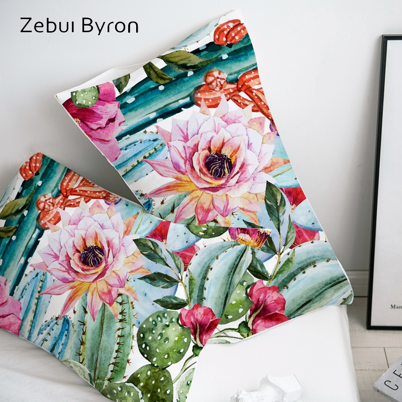 3D HD Pillow Case Pillowcase Custom/50x70/50x75/50x80/70x70 Decorative Pillow Cover,Nordic Flower Cactus Bedding Drop Shipping