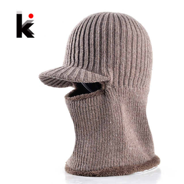 ccb1be87ebe61 Dad hat winter skullies knitted wool baseball cap two kinds of wearing  thicker bonnet beanies for