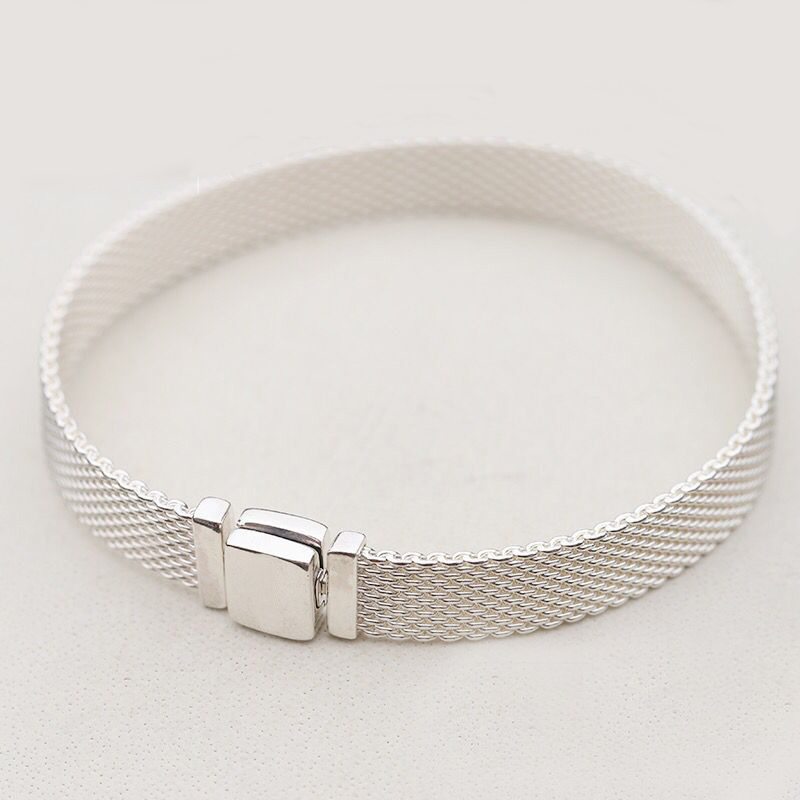 Guaranteed 925 sterling silver woven original reflective shine bracelet Womens woven even DIY suitable for original charmGuaranteed 925 sterling silver woven original reflective shine bracelet Womens woven even DIY suitable for original charm