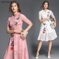 Newest Spring Summer Women Flower Embroidery Dress Fashion Vintage Lace Embroidery Dress Elegant Bodycon Casual Dresses