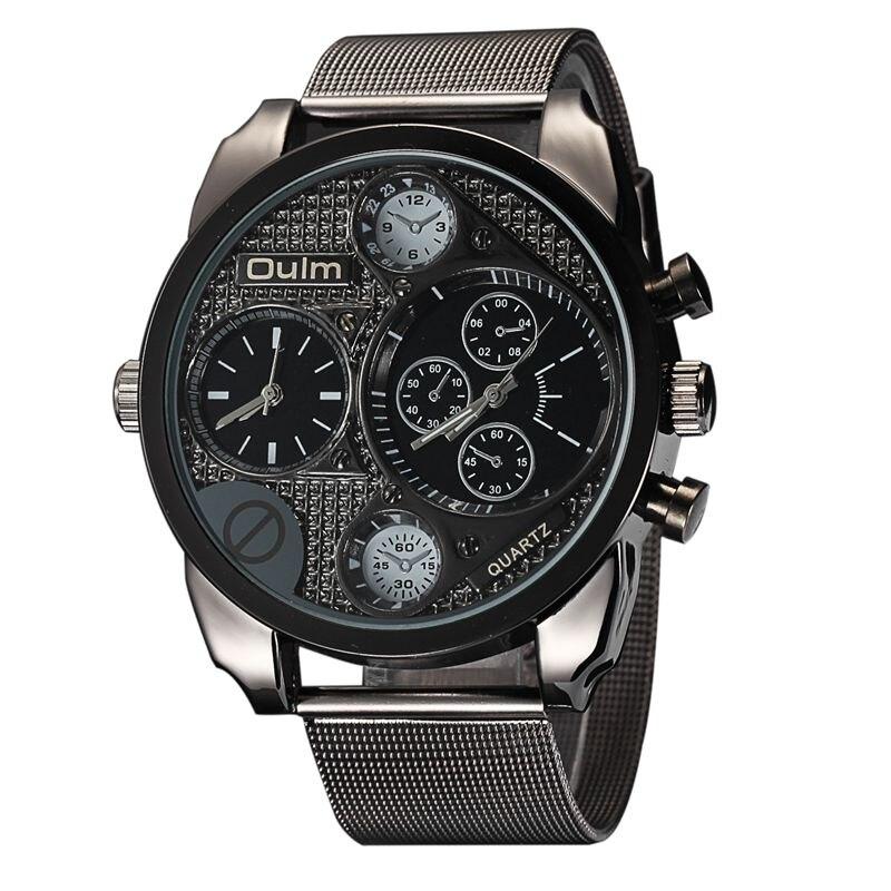 8b140a7e8584 Diseño de marca de lujo oulm relojes de los hombres de acero lleno de cuarzo  reloj antiguo hombre casual reloj militar relojes hombre 2017 en Relojes de  ...