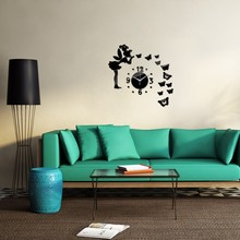 2016 Sale DIY Acrylic Mirror Fairy Butterfly Wall Sticker Wall Clocks Still Life Adesivo De Parede Home Decor Decals