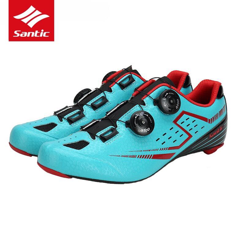 Spor ve Eğlence'ten Bisiklet Ayakkabıları'de Santic Bisiklet Ayakkabıları Karbon Fiber Ultralight yol bisikleti ayakkabıları Erkekler Pro Takım Yarış Kendinden kilitli Bisiklet Ayakkabı Zapatillas Ciclismo title=
