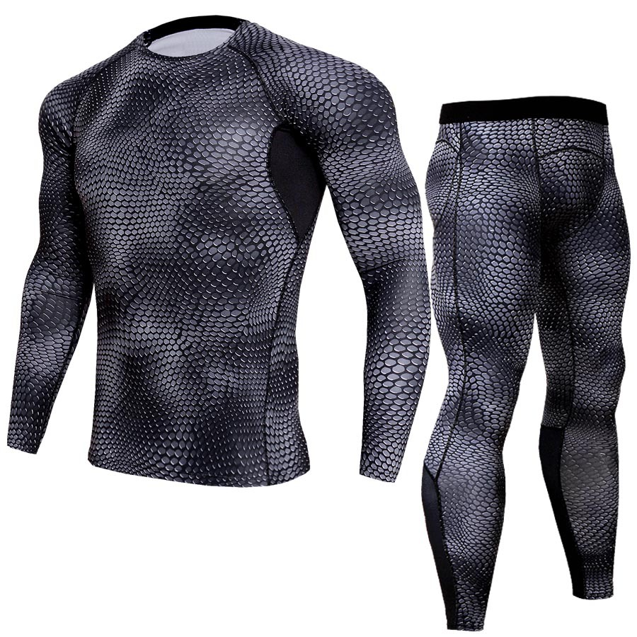 Quick Dry Fitness Joggers Skinny Mens T-Shirts Set Elastic Compression Tight 2 Piece Men ...